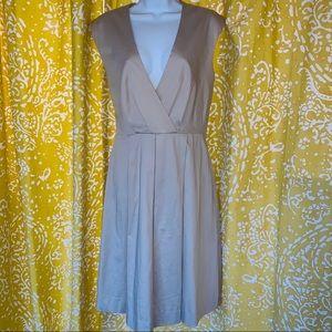 Calvin Klein Sleeveless Khaki Dress with  V Neck